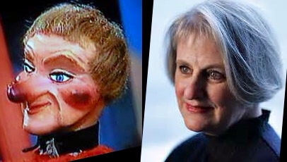 Lady Elaine Fairchilde (left), U.S. Federal Puppet Denise Cote (right), or vice versa