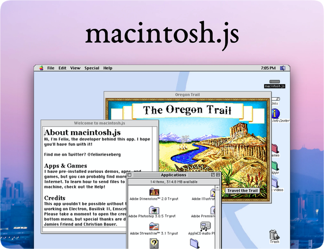 photo of Mac OS 8 emulator available as a downloadable app image