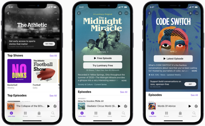 photo of Apple goes to battle with Spotify in premium podcast push image